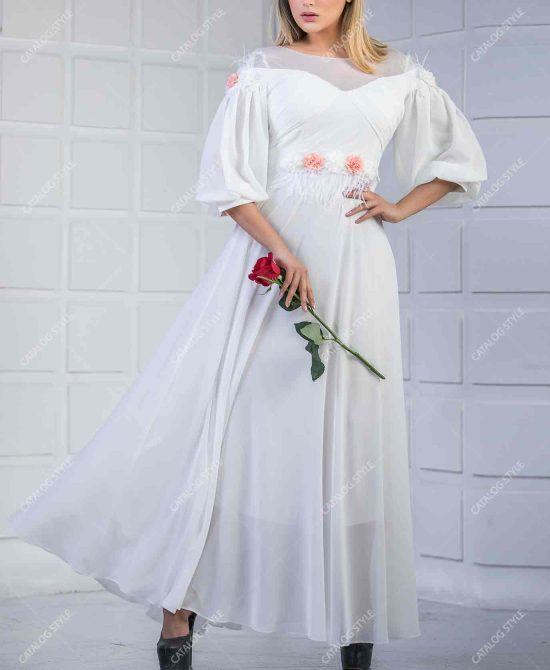 پیراهن زنانه مجلسی کد 1421 آستین خمره ای